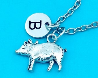 Pig pendant etsy mini pig necklace cute pig charm necklace personalized necklace custom charm pendant mozeypictures Gallery