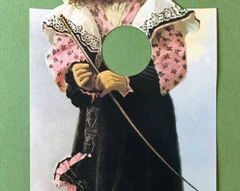 Gone Shopping Door Sign Victorian Girl in Hat