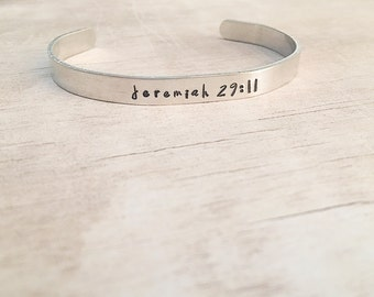 First Communion Gift for Girls - Personalized Bible Verse Cuff Bracelet - Jeremiah 29:11 - Bible Verse Bracelet