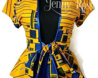 Jennyrossy African jacket Ankara tie Top African peplum blouse African print blazer