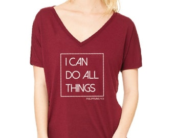 "Ladies, ""I Can Do All Things"" Maroon, Short Sleeve, V-Neck Tee"