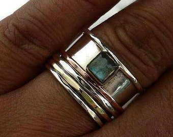 Labradorite Spinner Ring with Copper, Silver, Brass Spin Rings, Labradorite Ring, Gemstone Spinner Ring, Fidget Ring, Mistry Gems, SP57LAB