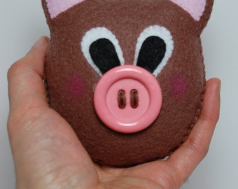 Handmade Brown Small Felt Pig Stuffed Animal, Pocket Stuffed Toy, Cute Gift