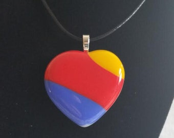 Handmade Southwest Airlines Fused Heart Glass Pendant