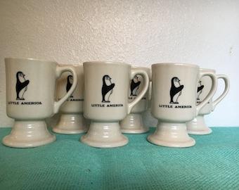 Vintage Little America Penguin Restaurantware Footed / Pedestal Mugs Set of 6