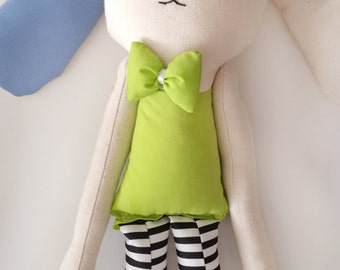Bunny doll plush toy, handmade stuffed rabbit doll toy, 20'' bunny stuffed animal, easter gift for kids, toys for baby boys