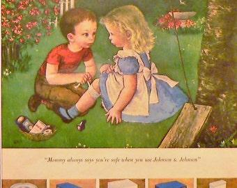 1949 Johnson & Johnson Band-Aid Ad Matted Vintage Print