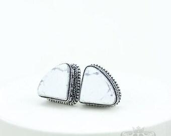 White Buffalo Stone HOWLITE Vintage Filigree Antique 925 Fine S0LID Sterling Silver Men's / Unisex CUFFLINKS k732
