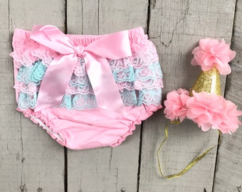 First Birthday Outfit, Birthday Bloomer, Birthday Hat, First Birthday, Party Hat, Ruffle Bloomers, Diaper Cover, Smash Cake Outfit, Bloomers