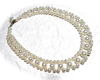 Vintage Pearl Collar Necklace Vintage Jewelry Bridal Jewelry VA-108