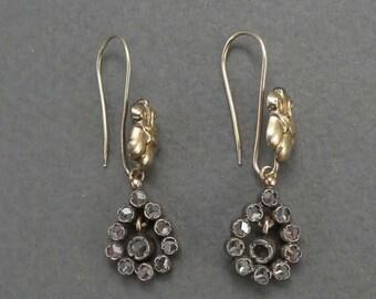 14K and Sterling Rose Diamonds Teardrop Earrings