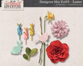 Commercial Use OK, Easter Mix, Digital Scrapbooking Embellishments, Digital Download, Clothespin, Vintage Cupcake Picks, Bunny, Flower, Leaf