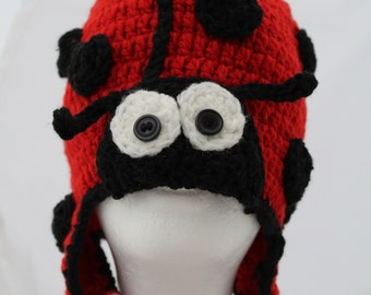 Adult Lady Bug Hat- Crochetted
