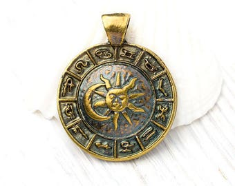 Zodiac pendant etsy zodiac pendant astrological symbols sun and moon bronze and patina 35 mm mozeypictures Images
