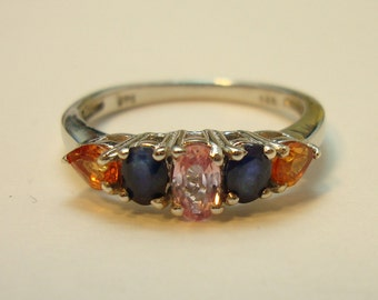 Sapphire Size 7 Ladies Ring-Multi Gem Five Stone Ring-TGW 1.35 Cts-INTENSE COLORS & Clarity-Blue Pink And Orange-September Birthstone Ring