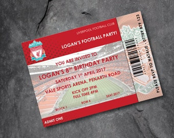 Liverpool Football invitations - kids party - personalised - Free P&P