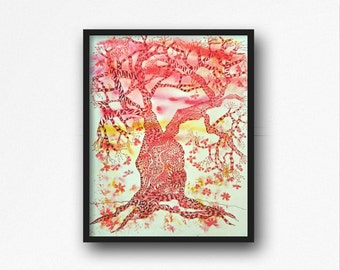 African Print of Tree, African Art, African Giclee Print, African Watercolor, Tree Art by Cindi Cassady