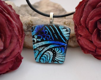 fused glass dichroic engraved pendant, blue and silver dazzle, handmade, kiln fired