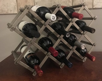 vintage metal 10 bottle accordion wine rack metal wine storage heavy metal wine rack - Metal Wine Rack
