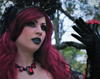 Papa Legba Voodoo Priestess Crown with Cathedral Veil Headpeice