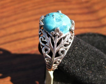 Turquoise Stone Cabochon Gemstone Sterling Silver Ring Size 7, No. 1648.