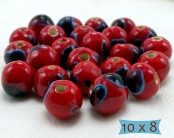 "Artisan Ceramic Beads ""Ladybug"" Red and Black Made in Cambodia—10 Pcs 