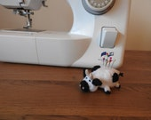 Hand knitted Cow Pin Cushion Critter, Desk Toy, #OOAK