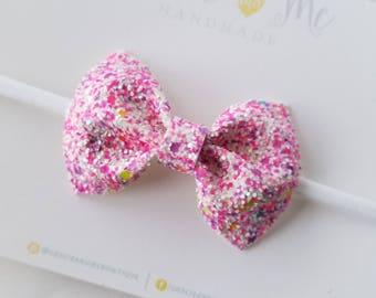 Neon Glitter Bow - Pink Neon Glitter Bow - Baby Headband - Hair Clip - Nylon Headband - Summer Bow - Summer Glitter Bow - Photo Prop