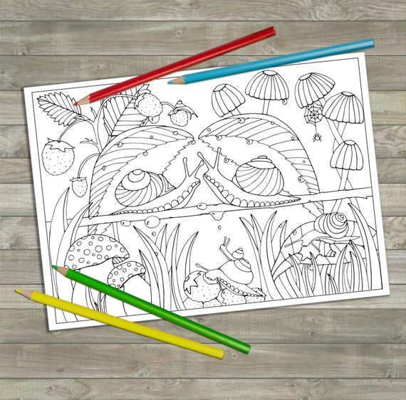 Printable Snails Colouring Page Digital Download Coloring