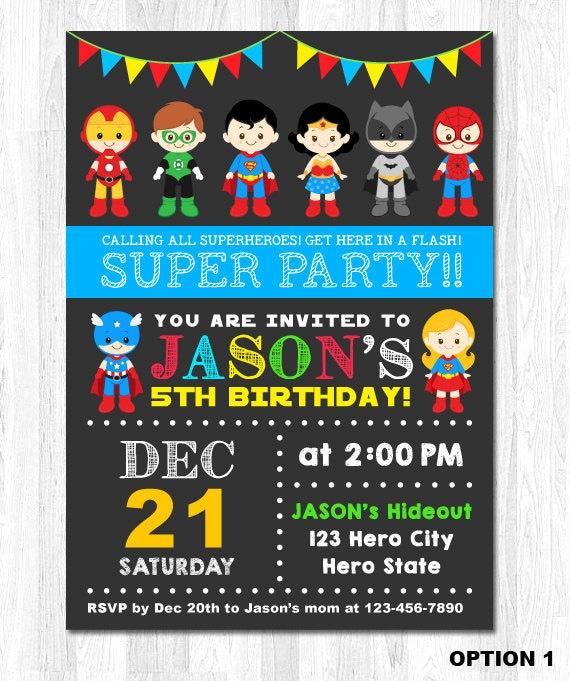 Superhero Invitation Superhero Birthday Invitation by ...