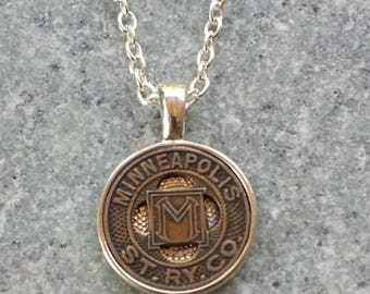 "Handcrafted Vintage Minneapolis Transit Token Pendant Necklace 24"" Chain"