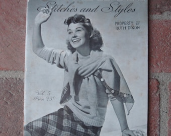 Vintage 1939 Minerva Knitting Book, Stitched & Styles How to Book Volume #5, Knit Sweaters, 24 Projects, Fabulous 1930s Styles and Designs ~
