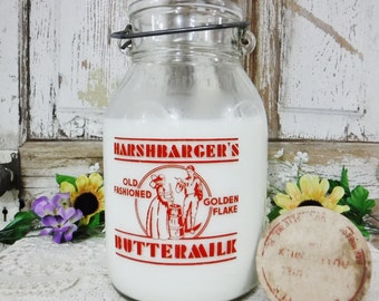 Milk Bottle/Milk Jar/Jug/Gallon Milk Bottle/Dairy Bottle/Farmhouse Decor Country Kitchen Decor/Buttermilk/Wire Bail Handle/Lid/Cap/Vintage