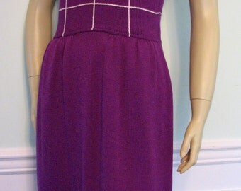 Vintage Dress St John Marie Gray Purple Knit Size 12