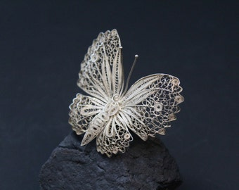 Vintage Sterling Silver Filigree Butterfly Brooch Pin