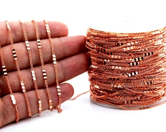 10 meters ( 33 Feet ) Wire Thickness : 0.40 mm Chain, Rose Gold Plated, Free Yes