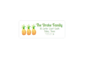 Return Address Labels - Tropical Pineapples - Address Stickers - Custom - Personalized - Yellow and Green