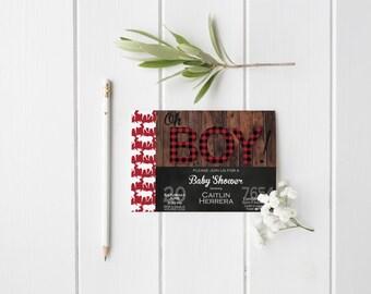 Lumberjack Buffalo Plaid Baby Shower Invitation- Moose- Wood- Birthday- Red- Black- White- Digital File- Printable
