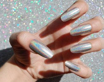Taupe Holo Nails -CHOOSE YOUR SHAPE- Set of 20 - Fake nails, false nails, holographic nails, hologram nails, long nails