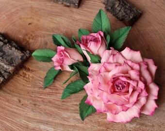 Romantic Rose Brooch Bridal Pink Flower Jewelry Delicate Pink Wedding Flower Brooch Romantic Wedding Gift Bridesmaids Pin Bridal Brooch