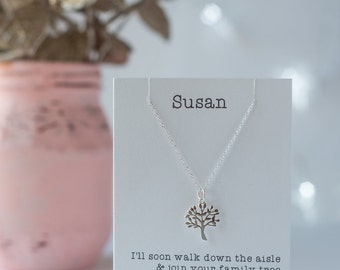 Mother of the groom gift from the bride to be tree necklace