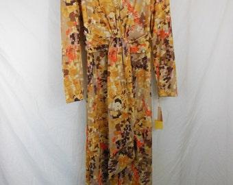 Vintage Maxi Dress - Polyester - 1970s - Size 18-1/2