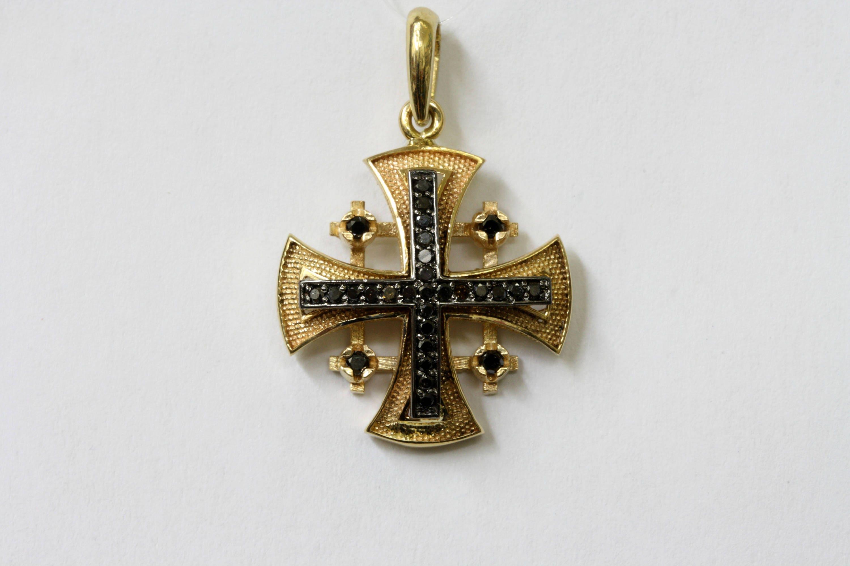 Jerusalem Cross Pendant with Black Diamonds Gold Cross 14K