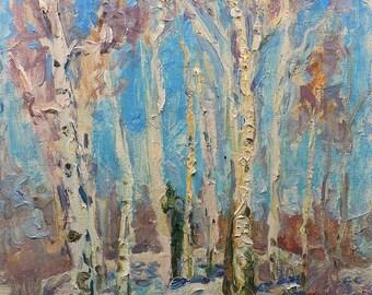 VINTAGE IMPRESSIONIST ART Original oil painting by Soviet Ukrainian artist S.Repka 1980s, Winter Forest landscape, Woodland Scenery, Birches