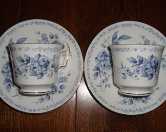 "2 Sets of Royal Chelsea ""Blue Chelsea"" - English Bone China - Vintage Demitasse Tea Cups and Saucers - Blue Flowers and Scrolls"