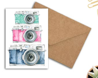 Photography Greeting Card - Watercolor Cameras - Photographer Gift - Birthday /Thank You Card - 5 x 7 Printable Card - Digital Download
