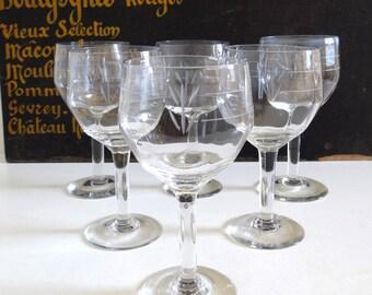 6 Vintage Wine Glasses with Acid Etched Decor - Mid Century Stemmed Glasses