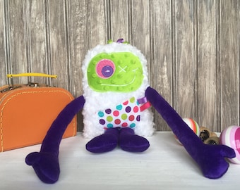 Hug Monster plush, purple and lime green with dots print pocket, baby shower, christmas or birthday gift, ready to go.