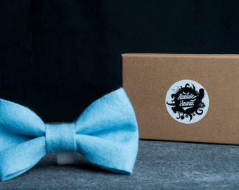 Dog Bowtie - Collar accessories - Handmade felt bow tie - idea gift for dogs and puppies - Blue