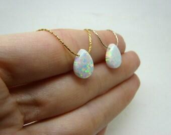 Drop Opal necklace, White drop opal pendant, Pear shape necklace, Opal jewelry, October birthstone, Everyday necklace, Opal jewellery